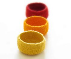 Yellow felted bowls / summer colors / Three little bowls in yellow, orange and red / Cozy gift bright colors