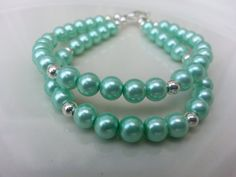 Teal and Silver Double Strand Bracelet by tahdeah on Etsy, $8.00