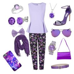 """""""Going All Purple"""" by thee-fashionista ❤ liked on Polyvore featuring M&Co, Casadei, Diane Von Furstenberg, Bling Jewelry, Belk & Co., Jet Set, Malaika and Gucci"""