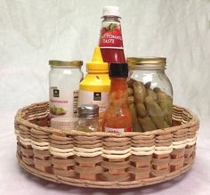 "13"" Lazy Susan Basket. Use this basket in the middle of your table or using it for fruits, spices, cooking oils, and vinegars on your counter."