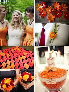 Orange, white and red wedding inspiration board.