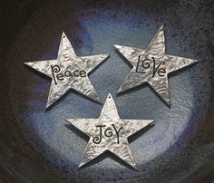 Peace Love Joy set of three Christmas Star by EarthlyCreature