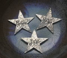 Peace Love Joy set of three Christmas Star by EarthlyCreature