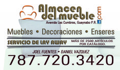 Tarjetas de presentación Almacén Del Mueble, Guaynabo, Puerto Rico.