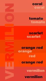 Vermilion. The Other Orange.: Shades of vermilion (aka vermillion). © Jacci Howard Bear; licensed to About.com