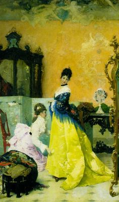The Yellow Dress by Vincente Capobianchi, 1875