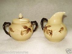 Cafe Royal Franciscan Creamer Sugar Bowl with Lid Small Pitcher Earthenware