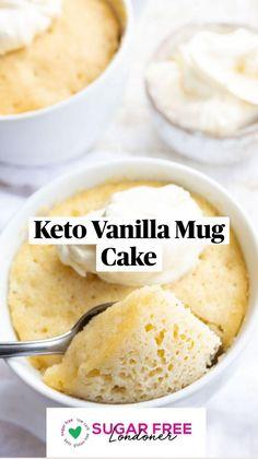 Coconut Flour, Almond Flour, Sugar Free Desserts, Keto Desserts, Keto Recipes, Dessert Recipes, Vanilla Mug Cakes, Banting, Lchf