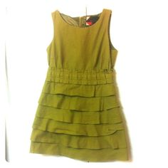 """Sage Green Dress Tiered ruffle skirt. Back zipper. Cotton with a polyester lining. Preloved but still in good condition. Bust 30"""". Waist 26"""". Length 29. Machine wash cold Twenty8Twelve Dresses"""