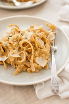 Pumpkin Fettuccine Alfredo with Rosemary and Parmesan - cookieandkate.com