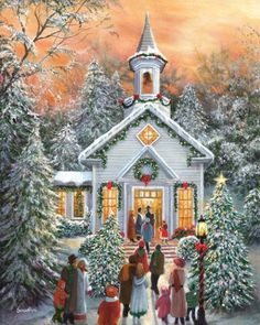I am such a sucker for these cheesy winter/christmas scenes! Old Fashioned Christmas, Christmas Scenes, Christmas Past, Christmas Pictures, Winter Christmas, Christmas Service, Winter Snow, Christmas Paintings, Christmas Illustration