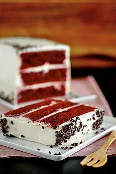 red velvet cake baked dessert (mascarpone-cheese cheese frosting and cocoa)