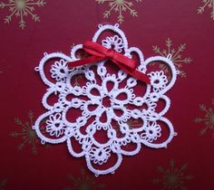 Tatted White Snowflake Glass Beads Christmas by LaceAmour on Etsy