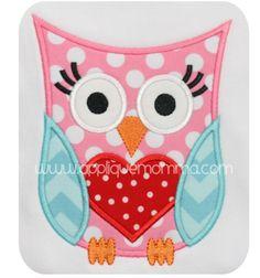 Applique Momma's Valentine Owl 4 Applique Design