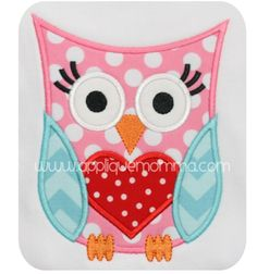 Applique Momma's Valentine Owl 4 Applique Design