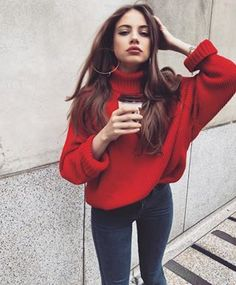 Here is Sweater Outfits for you. Sweater Outfits white sweater outfits every fashion girl is wearing. Sweater Outfits picture of comf. Fall Winter Outfits, Autumn Winter Fashion, Summer Outfits, Casual Outfits, Cute Outfits, Outfits With Red, Beautiful Outfits, Purple Outfits, Classy Outfits