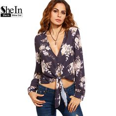 US $21.62 -- SheIn 2016 Casual Womens Tops and Blouses Autumn Ladies Floral Print Deep V Neck Tie Front Long Sleeve Crop Blouse aliexpress.com