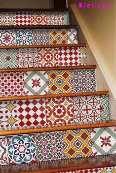 Athangudi Vintage Tile/Wall/bathroom/Kitchen/Stair by Bleucoin
