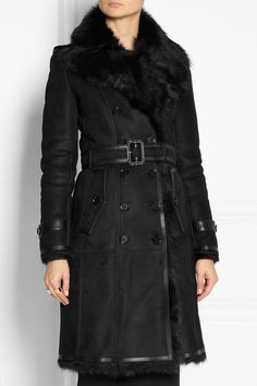 BURBERRY LONDON Belted shearling coat