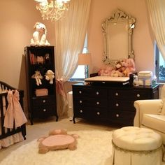 love the light pink, cream, and black.  love the black dresser and the beautiful silver mirror.