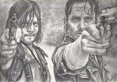 "ORIGINAL DRAWING The Walking Dead DARYL DIXON & RICK GRIMES 9x12"" Signed OOAKO #Realism"