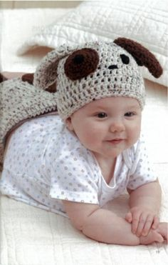 Cute dog crochet hat for the little one,