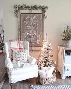 Farmhouse style Christmas decor. Simple and neutral Christmas. Red and white Christmas. Flocked Christmas tree