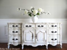 SOLD!!! EIA MAGAZINE Exclusive - Hand Painted Antique White French Provincial Romantic Vintage Sideb