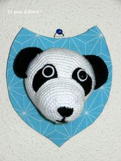 Trophée panda au crochet - tuto d'Anisbee.