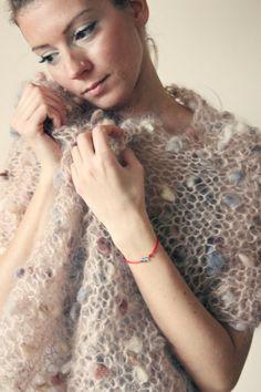 Beige Boho Poncho Knit Women Ponchos Very Soft Mohair by NastiaDi