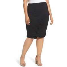 Plus Size Women's Rebel Wilson X Angels Ruched Jersey Knit Skirt ($69) ❤ liked on Polyvore featuring plus size women's fashion, plus size clothing, plus size skirts, black beauty, plus size, shirred skirt, ruched skirts, gathered skirt and knit jersey