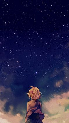 Starry Space Illust Anime Girl #iPhone #5s #wallpaper