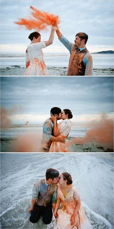 Photos inspiration for one Trash the dress ! So cool ! Color trash the dress, paint trash the dress water trash the dress