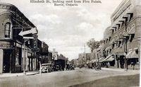 Elizabeth Street, Barrie - Looking West from Five Points (B&W)