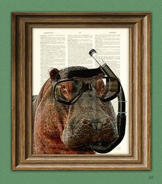 I want this to hang in my office so people can ask me why I have a hippo with a snorkel on my wall.