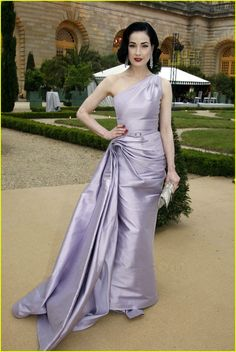 Dita Von Teese Christian Dior 2007 couture lavender one shoulder dress