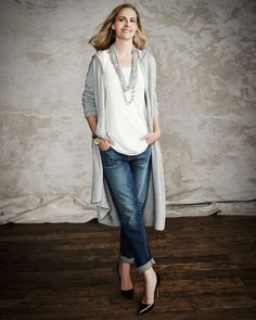 Eileen Fisher Hooded Long Organic Cotton Cardigan, Long Silk Jersey Tunic, Stretch Boyfriend Jeans & Drapey Metallic Necklace