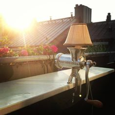 Meat Grinder Lamp on balcony.