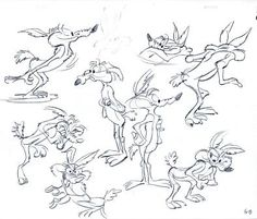Wile E. Coyote model sheet, graphite on 12 field animation paper