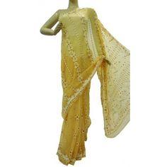Chiffon Saree Lucknow Chikan (VFTA4081)