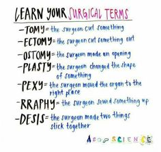 Some surgical terms for you. Helps with grey's anatomy Some surgical terms for you. Helps with grey's anatomy Nursing School Notes, Medical School, Medical Humor, Medical Assistant Quotes, Vet Assistant, Medical Facts, Nursing Schools, Medical Students, Nursing Students