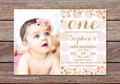 Eerste verjaardag uitnodiging meisje 1st Birthday door MaxinaDesigns