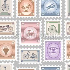 Around The World Pattern Design by Alex Zel at patterndesigns.com Vector Pattern, Pattern Design, Postage Stamps, Your Design, Around The Worlds, Patterns, Travel, Block Prints, Viajes
