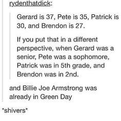 Gerard, Pete, Patrick, Brendon, and Billie Joe