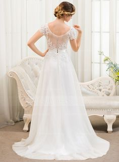 A-Line/Princess Scoop Neck Sweep Train Beading Sequins Zipper Up Covered Button Sleeves Short Sleeves Beach General Plus No Spring Summer Fall Ivory Tulle Lace Wedding Dress