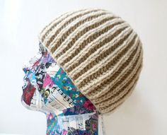 Men's 100% Wool Knitted Beanie Hat, Fisherman's Rib Pure Wool Beanie Hat, Hand Knitted Beige Wool Beanie , Mens Beanie Hat, Clickclackknits by Clickclackknits on Etsy
