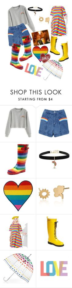 """""""Kissing in the Rain"""" by dumb-ass-cactus ❤ liked on Polyvore featuring Betsey Johnson, Lazy Oaf, Ilse Jacobsen Hornbaek, Totes, Native State and pride"""
