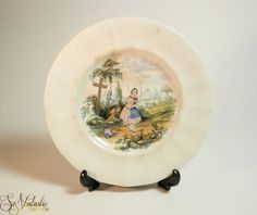c. 1835 adorable early English plate by William Smith (WS & Co) Wedgewood, Staffordshire, pattern No 100 #Pastimes featuring a jumping rope lady, polychrome transfer printed. Rare piece on offer by SoVintastic on Etsy;-)