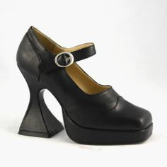 4-1/2 Inch Sexy High Heel Mary Jane Shoe Theatre Costumes Witch Vampire Black De