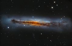 Sharp telescopic views of magnificent edge-on spiral #galaxy NGC 3628 show a puffy galactic disk divided by dark dust lanes.